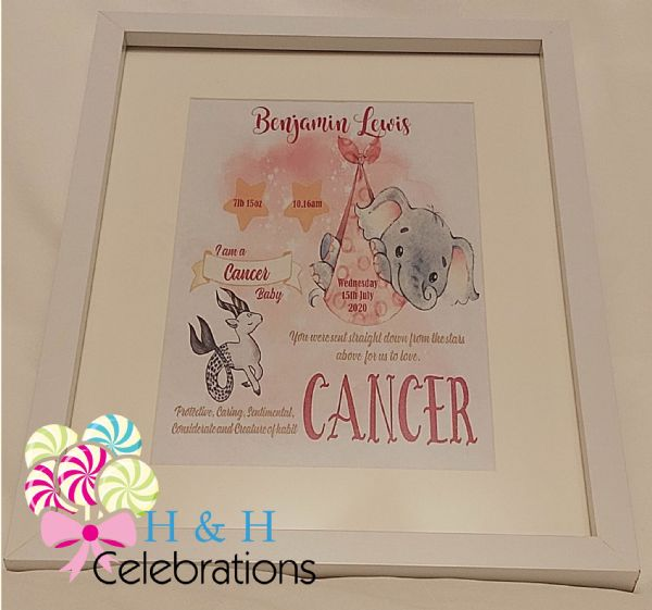 Cancer New Baby Star Sign Print
